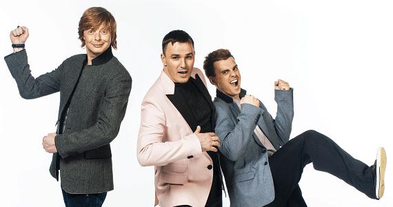 Andrey Grigoryev-Apollonov, Kirill Andreev und Kirill Turichenko, die heutige Zusammensetzung der populären Band Ivanushki International