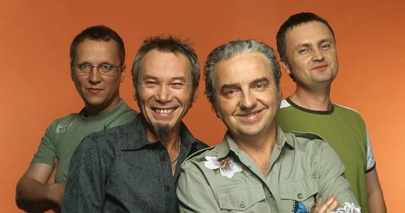 Valery Severin, Vladimir Begunov, Vladimir Shakhrin und Vyacheslav Dvinin, Musiker der beliebten russischen Rockband Chajf aus Jekaterinburg