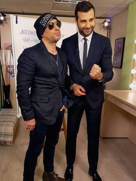 Актер и шоумен Дмитрий Нагиев и Иван Ургант на съемках программы «Вечерний Ургант»